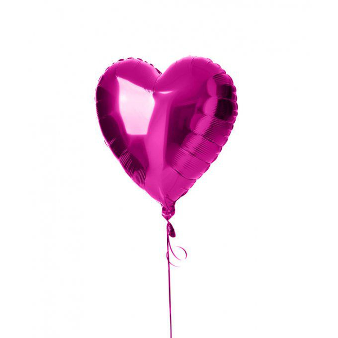 BALLON COEUR FUSCHIA + CARTE MESSAGE