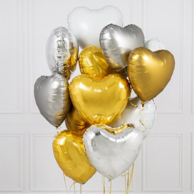 BOUQUET 3 BALLONS-BIJOU®  OR-ARGENT-BLANC+ CARTE MESSAGE