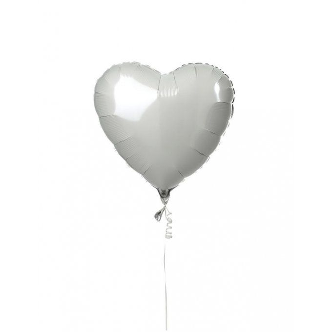 BALLON COEUR BLANC + CARTE MESSAGE
