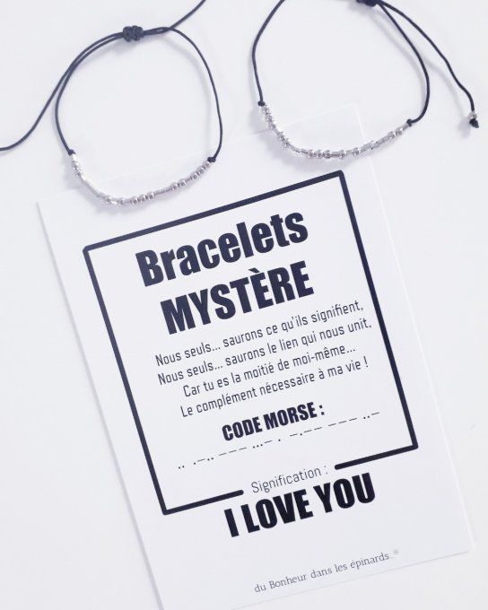 CARTE I LOVE YOU  + 2 BRACELETS MORSE