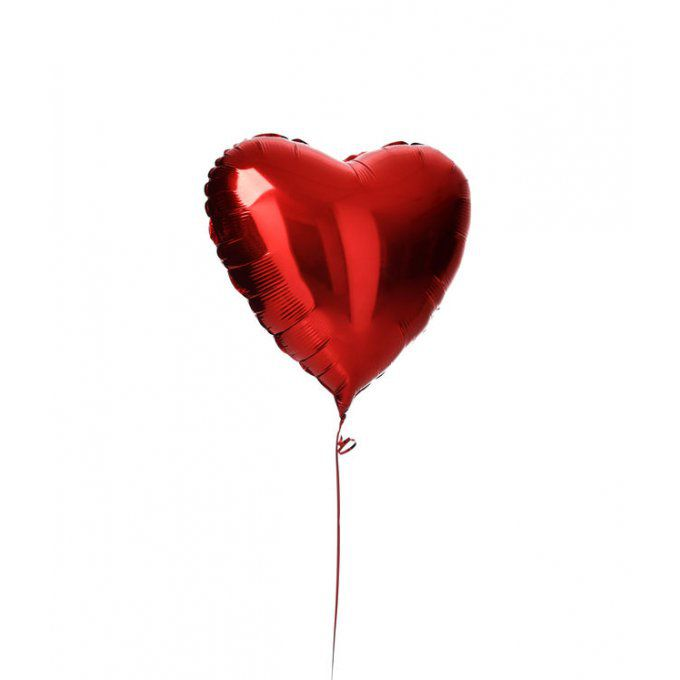 BALLON COEUR ROUGE + CARTE MESSAGE