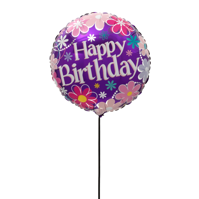 BALLON HAPPY BIRTHDAY FLEURS+CARTE MESSAGE