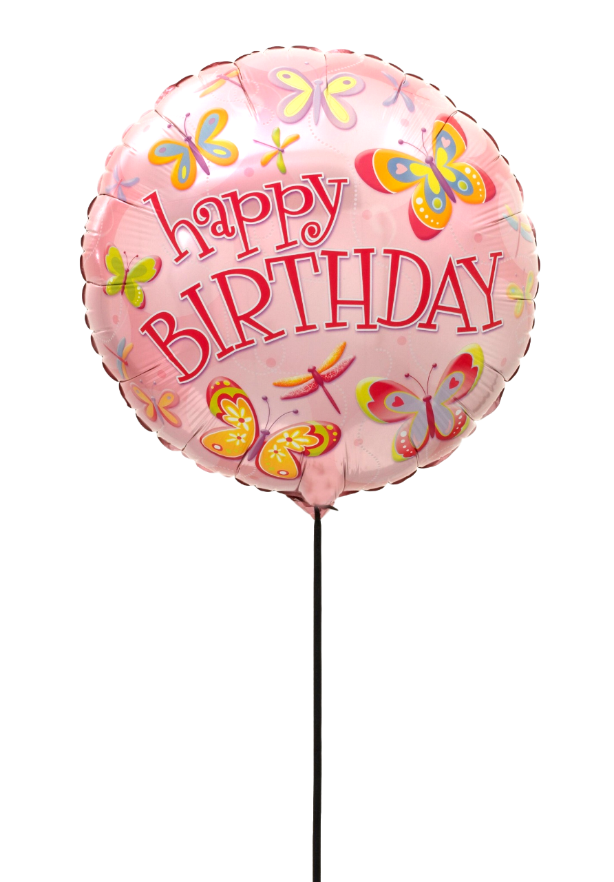 BALLON HAPPY BIRTHDAY PAPILLON+CARTE MESSAGE