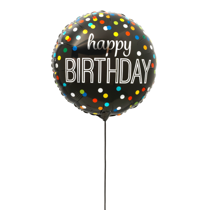 BALLON HAPPY BIRTHDAY NOIR+CARTE MESSAGE