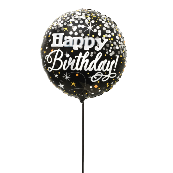 BALLON HAPPY BIRTHDAY SCINTILLEMENTS+CARTE MESSAGE